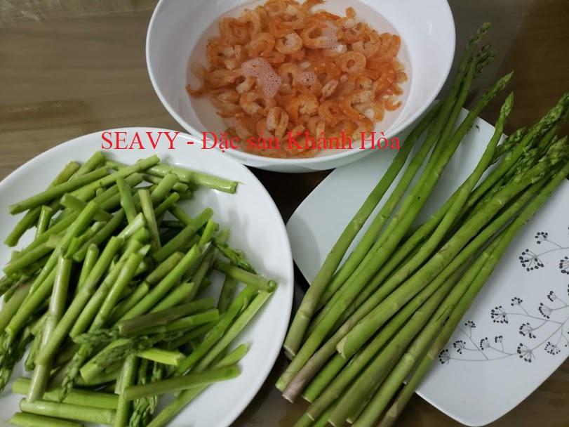 măng tây xào tôm khô